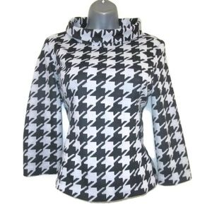 retro jackie o houndstooth shirt size small 6